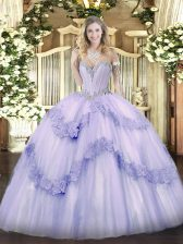 Lavender Sleeveless Floor Length Beading and Appliques Lace Up Quinceanera Gowns