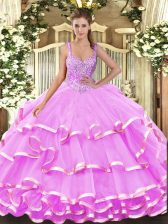 Lilac Lace Up Straps Beading and Ruffled Layers Quince Ball Gowns Organza Sleeveless
