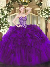 Purple Sleeveless Organza Lace Up Sweet 16 Quinceanera Dress for Military Ball and Sweet 16 and Quinceanera