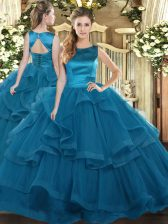 Teal Scoop Neckline Ruffles Quinceanera Gowns Sleeveless Lace Up