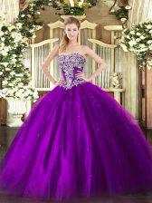 Admirable Tulle Sleeveless Floor Length Sweet 16 Dresses and Beading