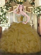 Beautiful Brown Ball Gowns Sweetheart Sleeveless Organza Floor Length Lace Up Beading and Ruffles Quinceanera Gown