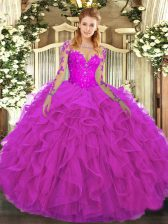 Fuchsia Tulle Lace Up Scoop Long Sleeves Floor Length Ball Gown Prom Dress Lace and Ruffles