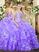 Simple Lavender Sweetheart Lace Up Beading and Ruffled Layers Sweet 16 Dresses Sleeveless