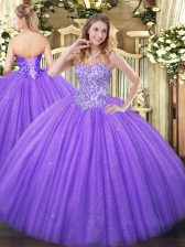 Lavender Sweetheart Neckline Appliques Quinceanera Gown Sleeveless Lace Up