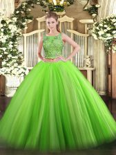 Sleeveless Floor Length Beading Lace Up Quinceanera Dresses with