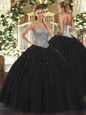 Dramatic Black Lace Up Sweetheart Beading Sweet 16 Quinceanera Dress Tulle Sleeveless