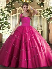 Suitable Hot Pink Sleeveless Appliques Floor Length Sweet 16 Dresses