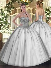 Grey Sleeveless Tulle Lace Up Quinceanera Dress for Military Ball and Sweet 16 and Quinceanera