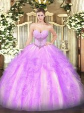 High Quality Sweetheart Sleeveless Quinceanera Gowns Floor Length Beading and Ruffles Lilac Tulle