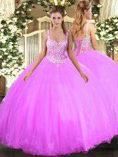 Sexy Lilac Tulle Lace Up Vestidos de Quinceanera Sleeveless Floor Length Beading