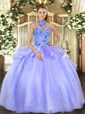 Eye-catching Lavender Sleeveless Embroidery Floor Length Quinceanera Gown