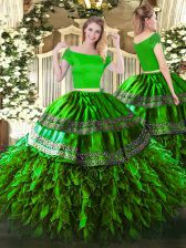 Nice Off The Shoulder Short Sleeves Organza and Taffeta Sweet 16 Dress Embroidery and Ruffles Zipper