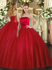 Top Selling Sleeveless Floor Length Ruching Lace Up Quinceanera Gowns with Red