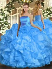 Sleeveless Floor Length Ruffles Lace Up 15th Birthday Dress with Baby Blue