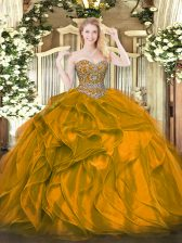 Superior Orange Sweet 16 Dress Military Ball and Sweet 16 and Quinceanera with Beading and Ruffles Sweetheart Sleeveless Lace Up