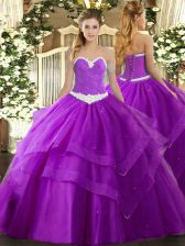 Sleeveless Floor Length Appliques and Ruffled Layers Lace Up Vestidos de Quinceanera with Purple