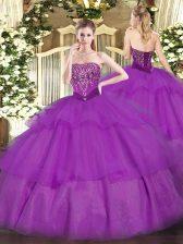 Artistic Purple Sleeveless Beading and Ruffled Layers Floor Length Quinceanera Dress