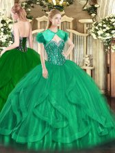 Tulle Sweetheart Sleeveless Lace Up Beading and Ruffles Quinceanera Dresses in Turquoise