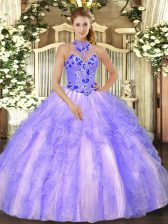 Excellent Floor Length Ball Gowns Sleeveless Lavender Sweet 16 Dress Lace Up