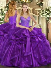 Unique Straps Sleeveless Organza Quinceanera Dresses Beading and Ruffles Lace Up