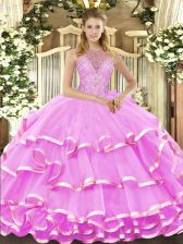 Eye-catching Halter Top Sleeveless Quinceanera Gown Floor Length Beading and Ruffled Layers Lilac Organza