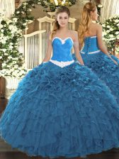 Wonderful Sleeveless Lace Up Floor Length Appliques and Ruffles Quinceanera Dresses