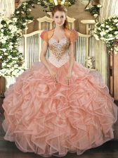 Cute Peach Lace Up Ball Gown Prom Dress Beading and Ruffles Sleeveless Floor Length