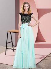 Glittering Sleeveless Chiffon Floor Length Lace Up in Aqua Blue with Lace