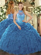 Graceful Teal Sleeveless Floor Length Beading and Ruffles Lace Up Quince Ball Gowns