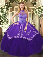 Best Selling Floor Length Purple Sweet 16 Quinceanera Dress Halter Top Sleeveless Lace Up
