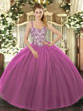 Popular Purple Ball Gowns Tulle Straps Sleeveless Beading and Appliques Floor Length Lace Up Quinceanera Gown
