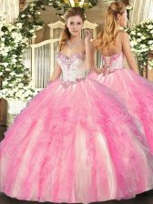 Rose Pink Ball Gowns Sweetheart Sleeveless Tulle Floor Length Lace Up Beading and Ruffles 15 Quinceanera Dress