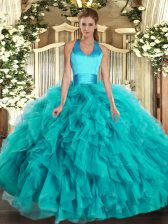 Turquoise Sleeveless Floor Length Ruffles Lace Up Quince Ball Gowns