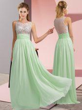 New Arrival Apple Green Scoop Neckline Beading Prom Dress Sleeveless Side Zipper