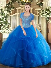 Custom Design Royal Blue Ball Gowns Tulle Scoop Sleeveless Beading and Ruffles Floor Length Clasp Handle Quinceanera Gowns