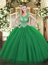 Scoop Sleeveless Lace Up Quinceanera Gowns Dark Green Tulle