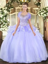 Charming Lavender Scoop Clasp Handle Beading and Ruffles 15 Quinceanera Dress Sleeveless