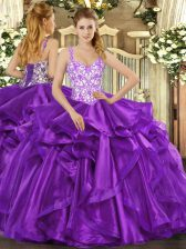 Eggplant Purple Lace Up Straps Beading and Appliques and Ruffles Quinceanera Gown Organza Sleeveless