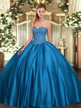 Perfect Blue Sweetheart Neckline Beading Quinceanera Dress Sleeveless Lace Up