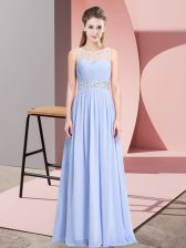 Cheap Floor Length Lace Up Prom Evening Gown Lavender for Prom and Party with Beading