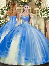 Simple Sweetheart Sleeveless Tulle 15th Birthday Dress Beading and Ruffles Lace Up