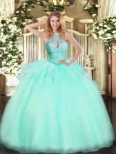 Eye-catching Halter Top Sleeveless Vestidos de Quinceanera Floor Length Beading Aqua Blue Tulle