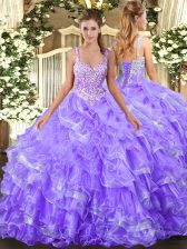 Inexpensive Straps Sleeveless 15 Quinceanera Dress Floor Length Beading and Ruffled Layers Lavender Organza