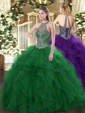Sleeveless Beading and Ruffles Lace Up Sweet 16 Dress