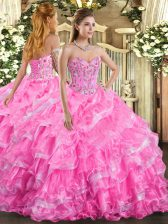 Extravagant Sleeveless Floor Length Embroidery and Ruffled Layers Lace Up Quinceanera Gowns with Rose Pink
