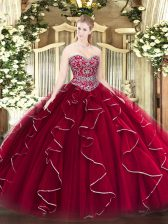 Edgy Wine Red Sleeveless Beading and Ruffles Floor Length Sweet 16 Quinceanera Dress