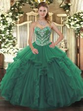 Decent Green 15th Birthday Dress Military Ball and Sweet 16 and Quinceanera with Beading and Ruffles Sweetheart Sleeveless Lace Up