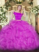 Short Sleeves Floor Length Appliques and Ruffles Zipper Ball Gown Prom Dress with Fuchsia