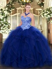 Enchanting Organza Sweetheart Sleeveless Lace Up Appliques and Ruffles Quinceanera Gowns in Blue
